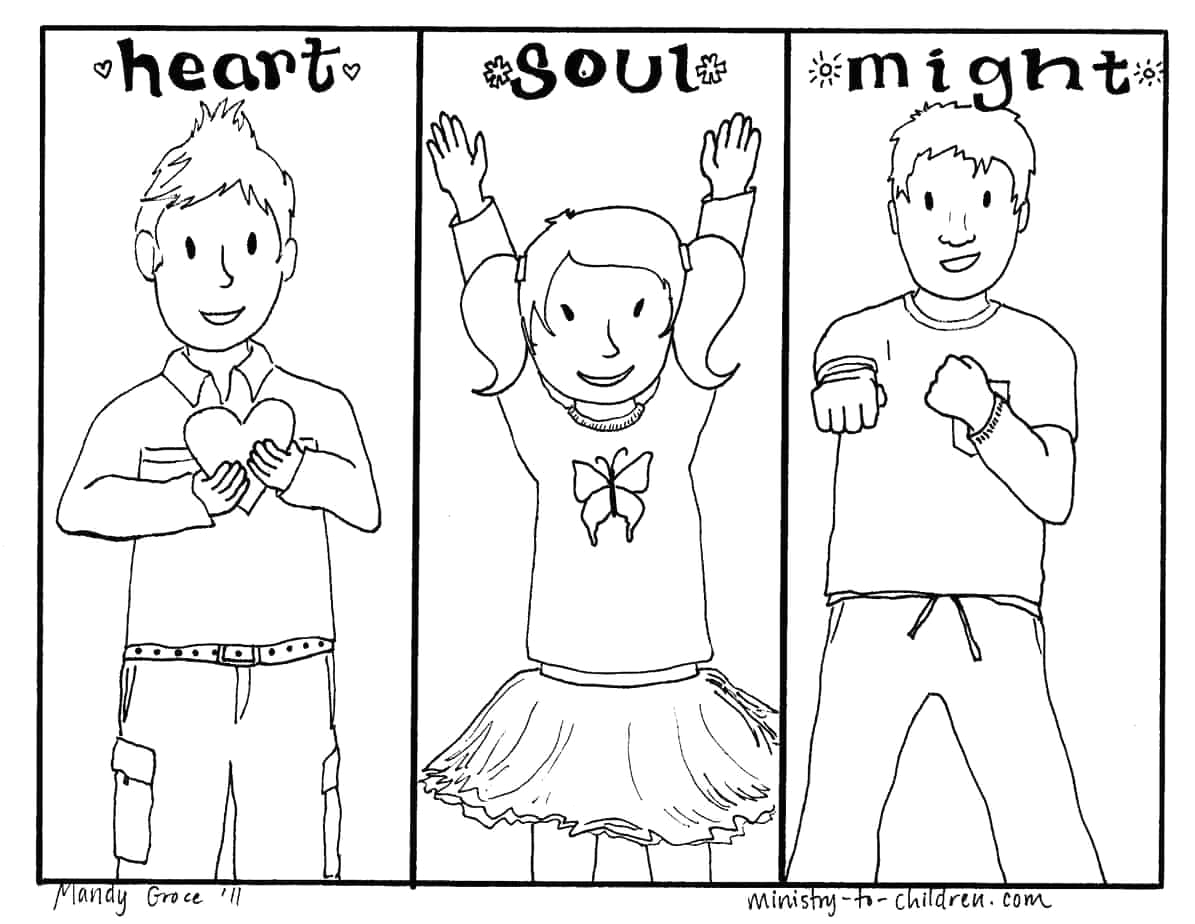 heart soul might coloring page