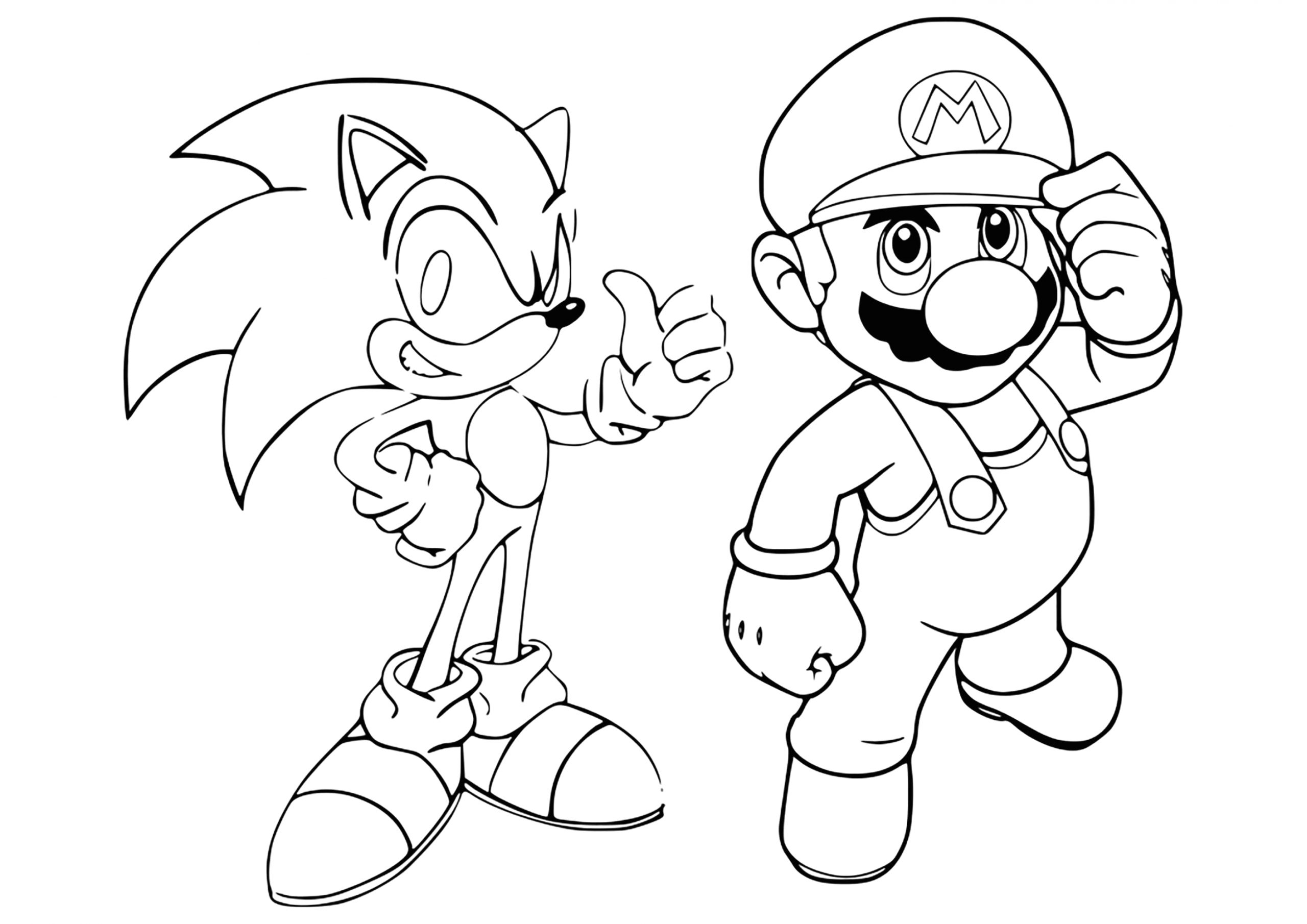 Mario and sonic Coloring Pages to Print Mario & sonic Coloring Page Mario Bros Kids Coloring Pages