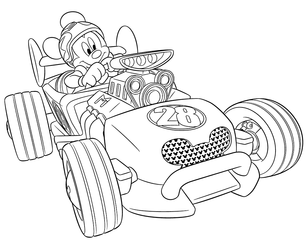 mickey and the roadster racers coloring pages