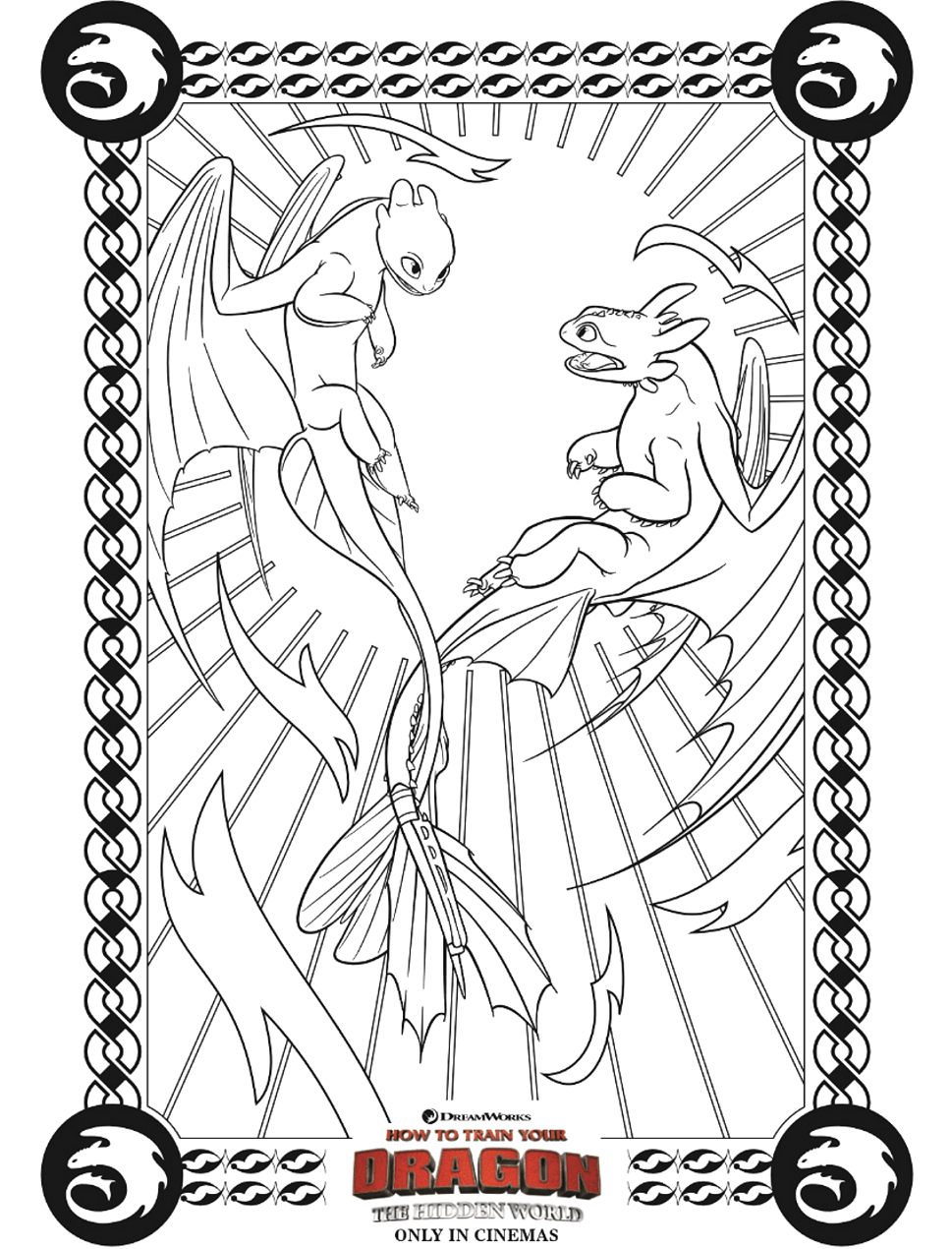 Night Fury and Light Fury Coloring Pages Light Fury and Night Fury Coloring Page Free Printable