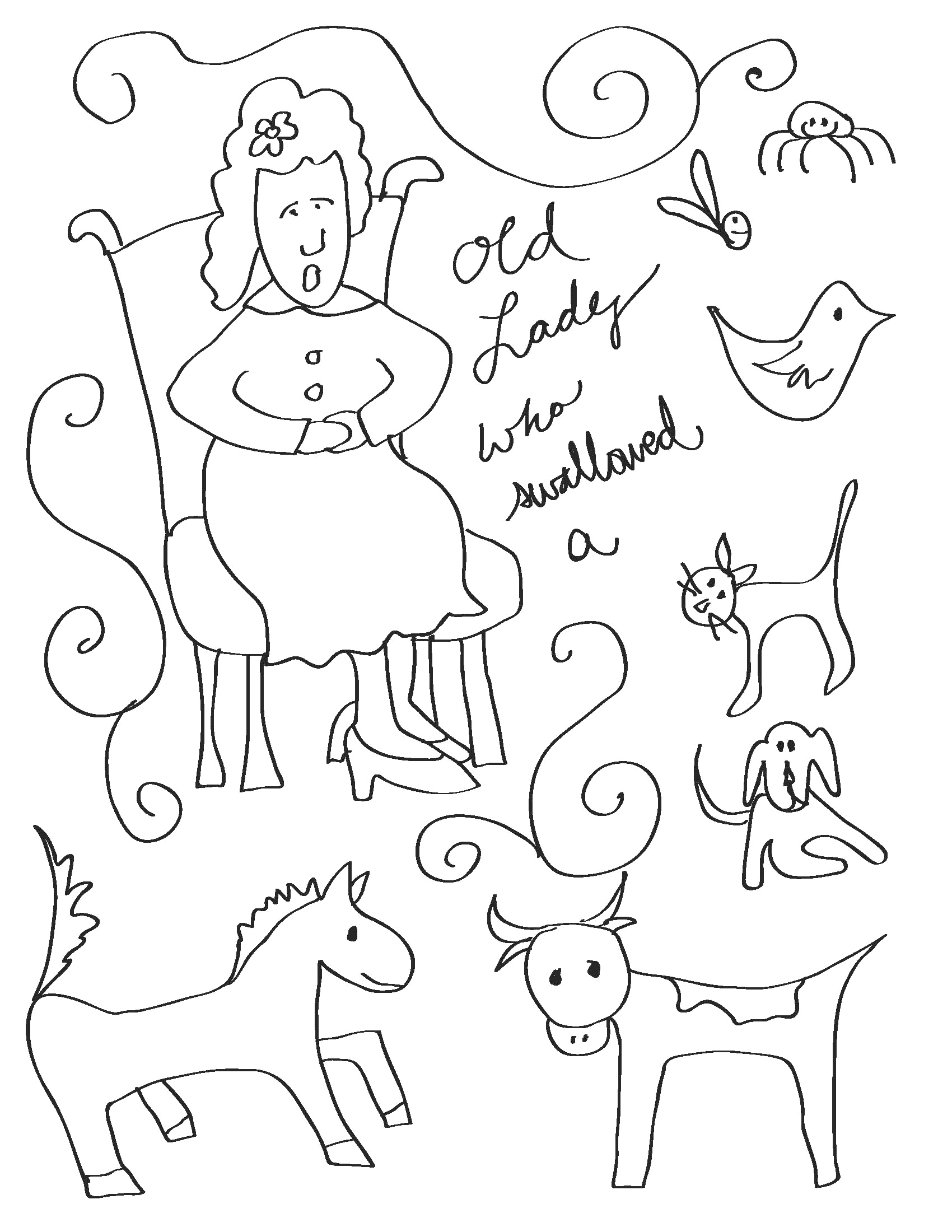 Old Lady who Swallowed A Fly Coloring Pages there Was An Old Lady who Swallowed A Fly Coloring Page