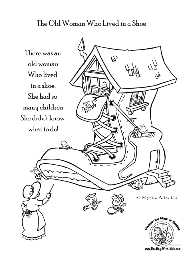 Old Woman who Lived In A Shoe Coloring Page there Was An Old Woman who Lived In A Shoe