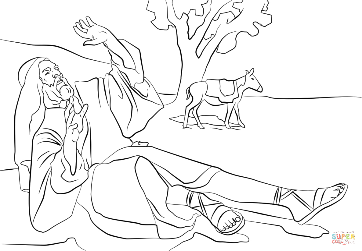 Paul On the Road to Damascus Coloring Page Paul Blinded On the Road to Damascus Coloring Page
