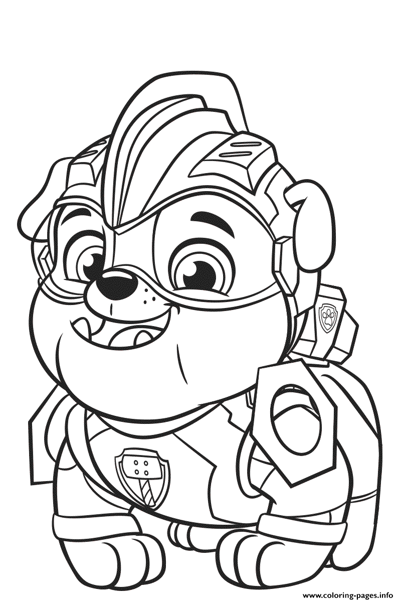 paw patrol mighty pups rubble printable coloring pages book