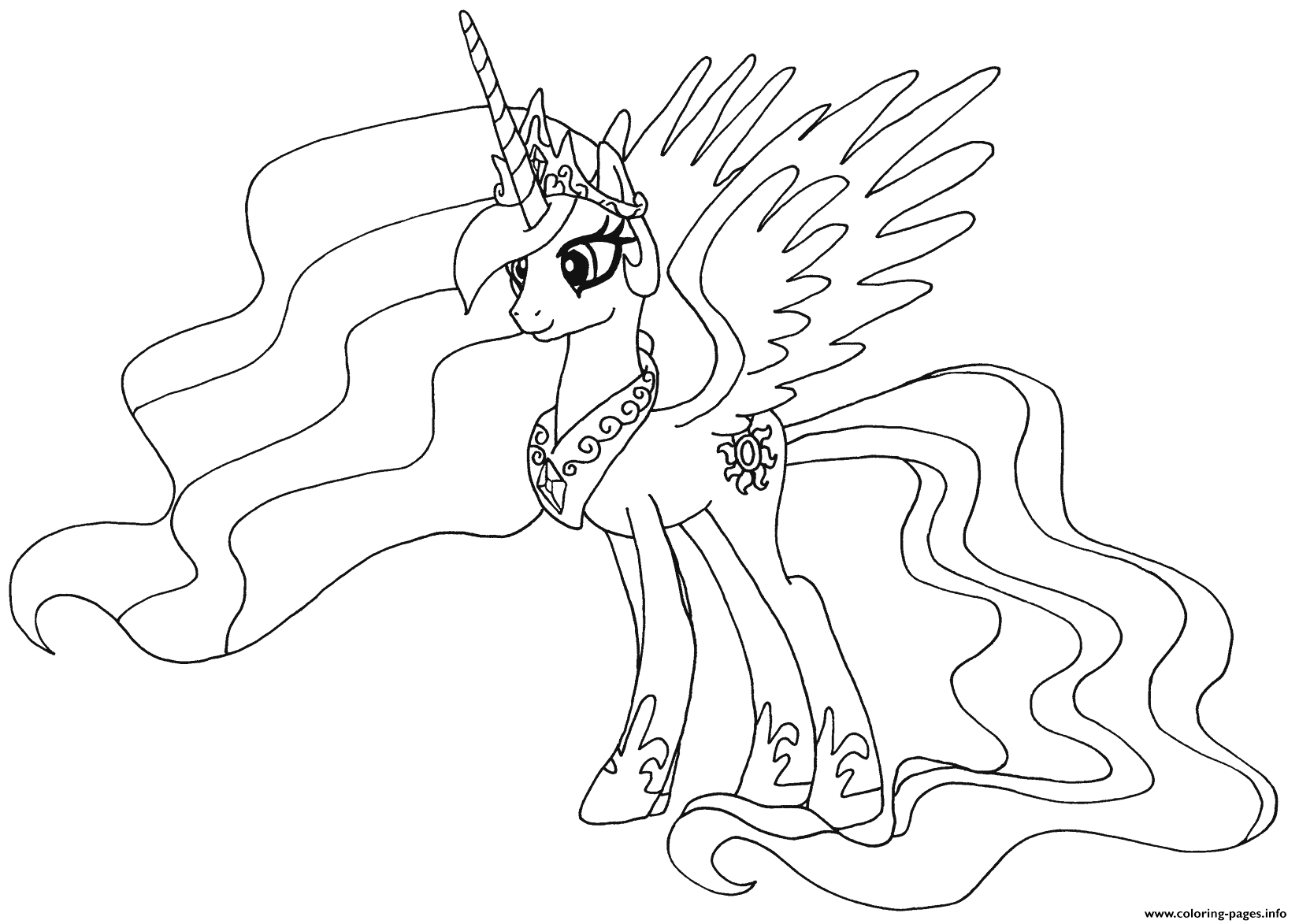princess celestia my little pony printable coloring pages book