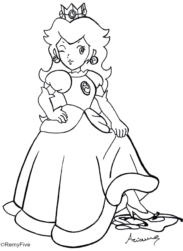 rosalina peach and daisy coloring pages