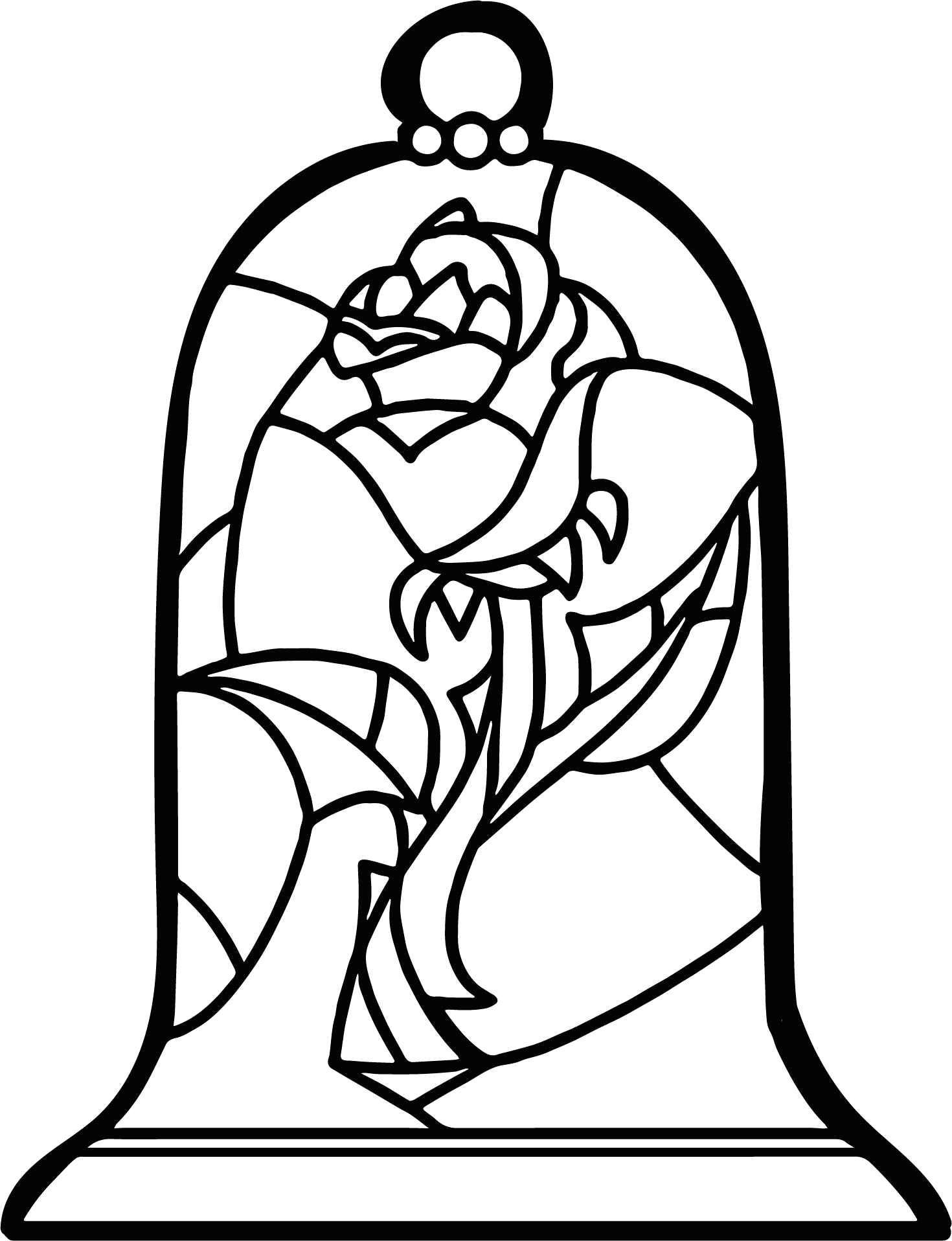 Printable Beauty and the Beast Rose Coloring Pages Stained Glass Beauty and the Beast Rose Coloring Pages