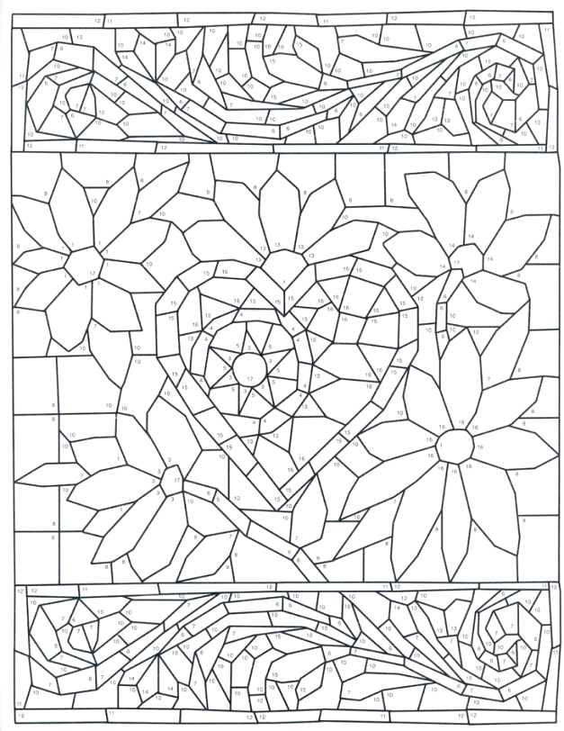 colour by number coloring pages