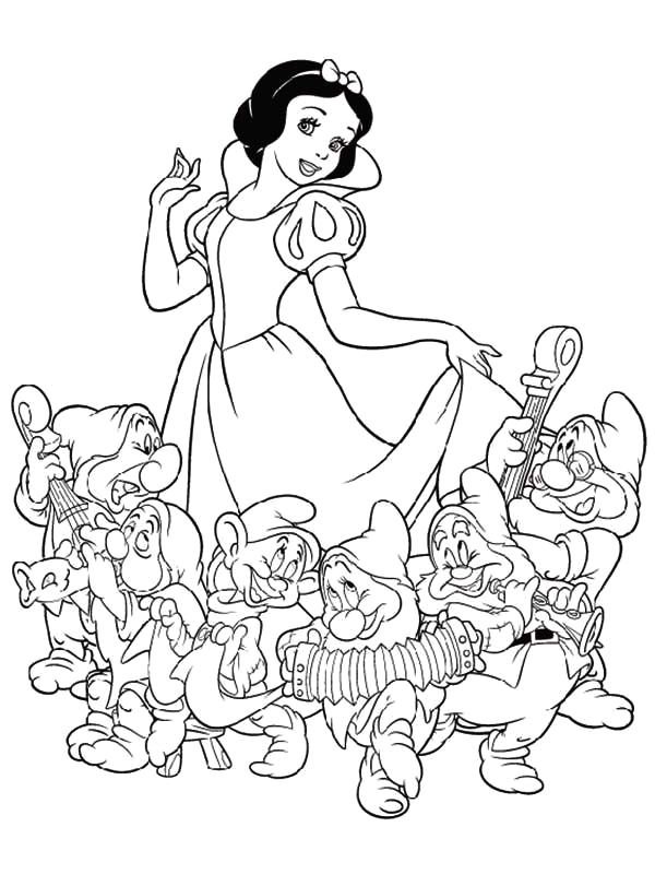 Snow White and the Seven Dwarfs Color Pages Snow White and Seven Dwarfs the Movie Coloring Page