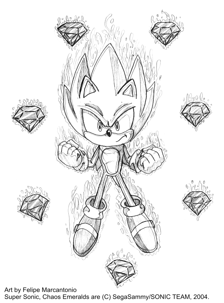 Sonic the Hedgehog Chaos Emeralds Coloring Pages Supersonic Chaos Emerald Coloring Pages Sketch Coloring Page