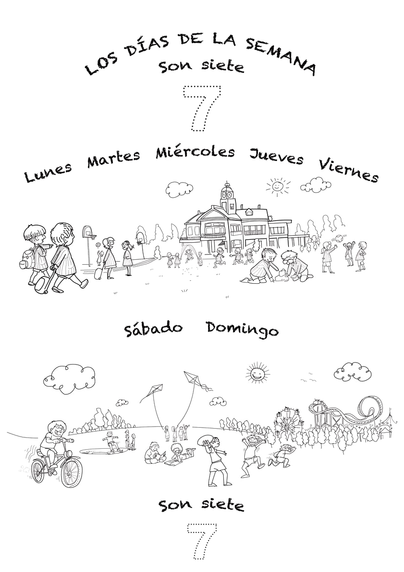 Spanish Days Of the Week Coloring Pages Coloring Sheet and Lyrics for Spanish Language song for