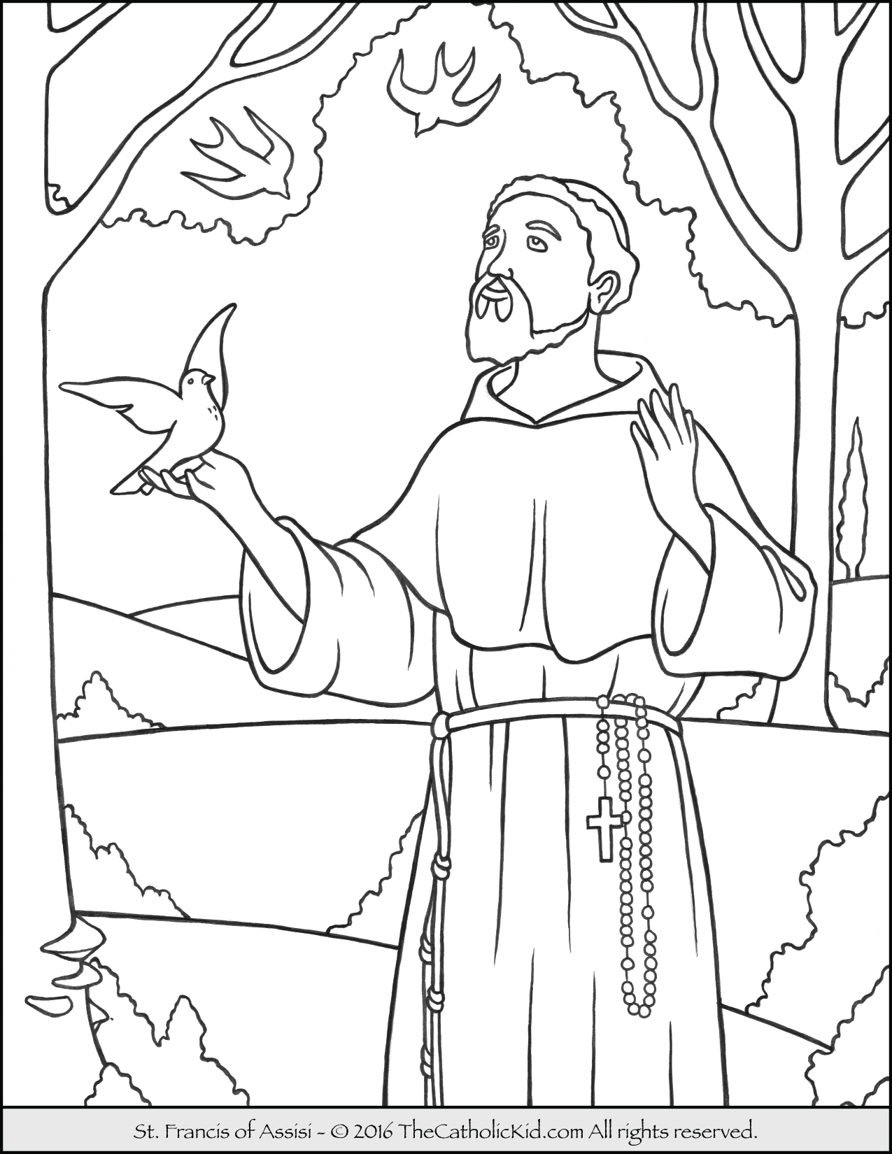 St Francis Of assisi Printable Coloring Page Saint Francis Coloring Page