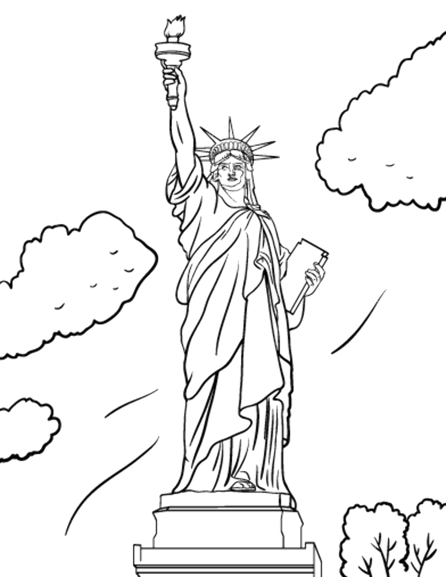 statue of liberty clipart coloring