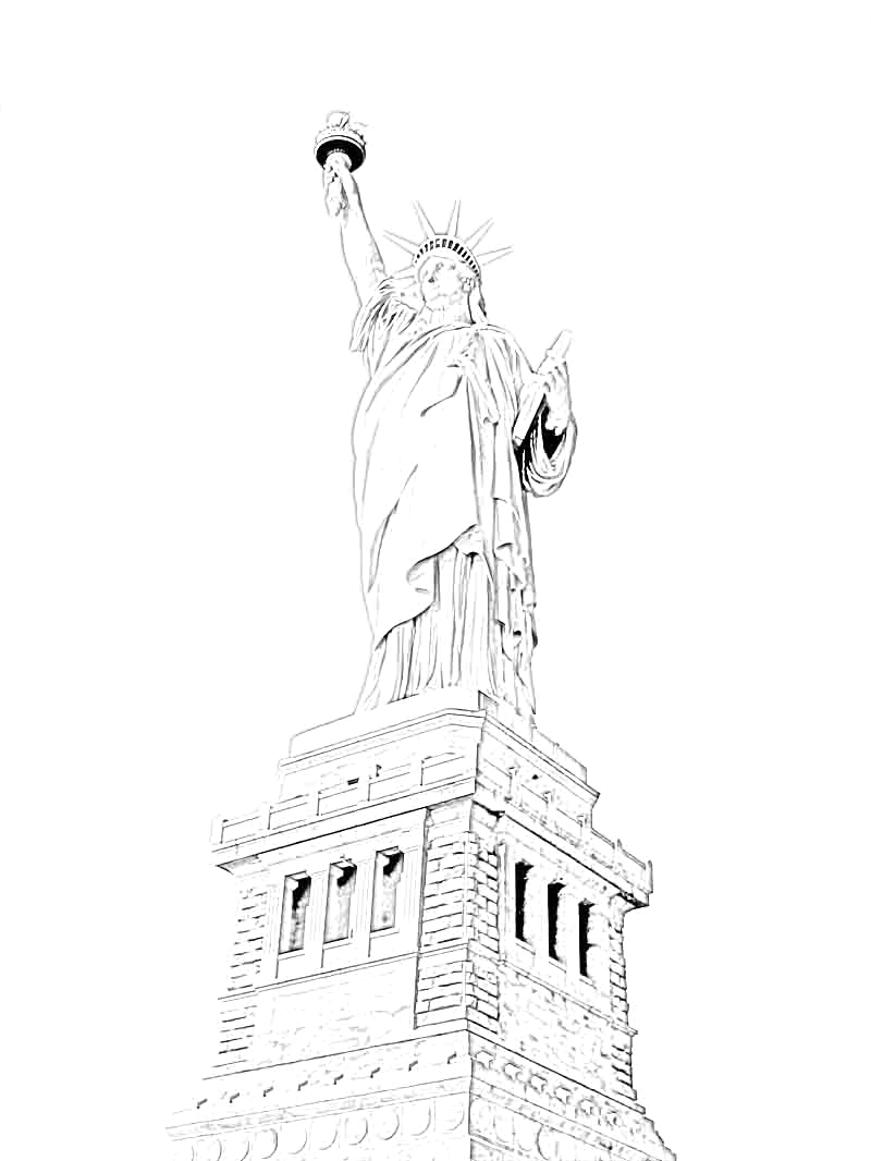 statue of liberty coloring pages for kindergarten