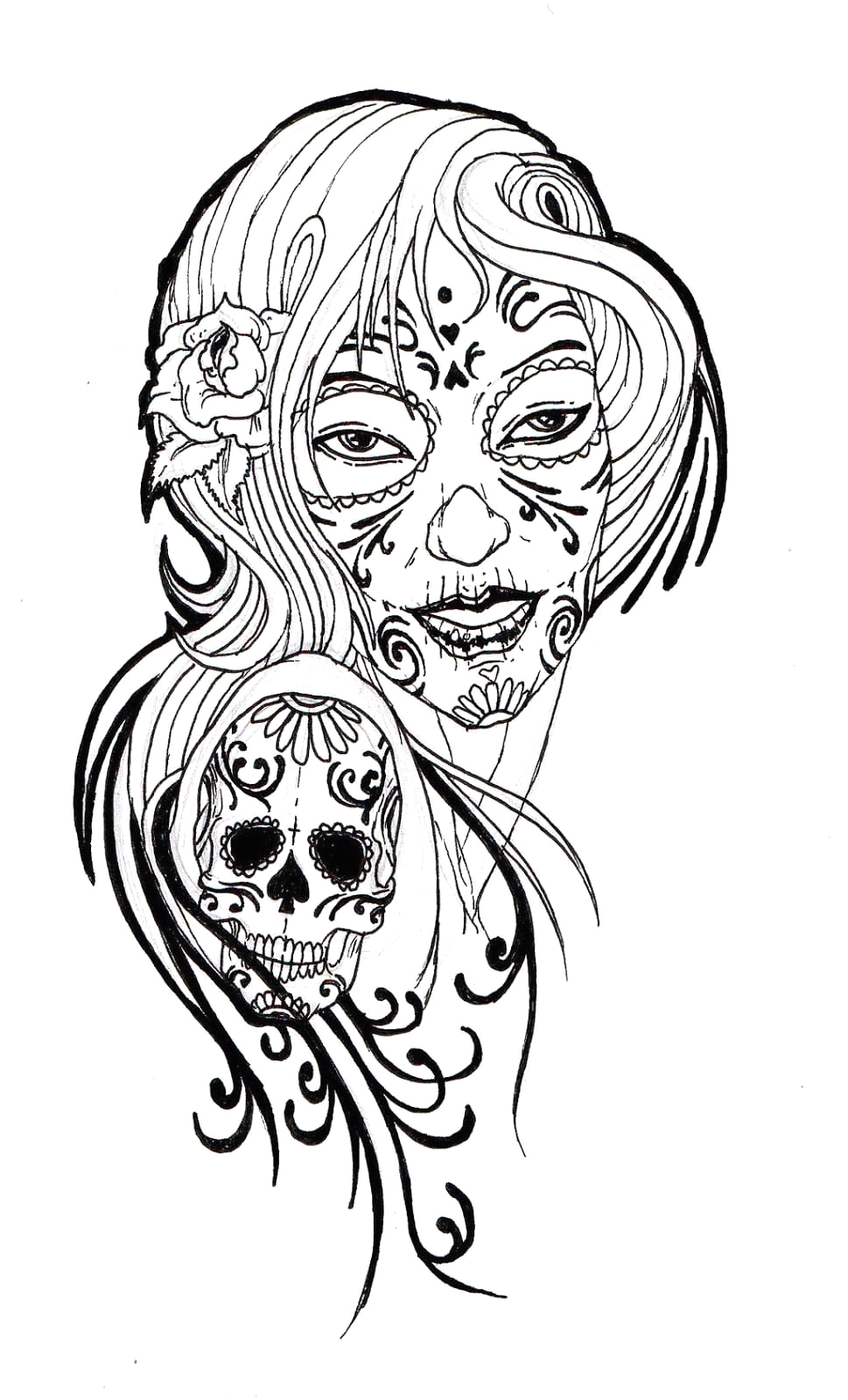 Sugar Skull Girl Coloring Pages for Adults Skull Coloring Pages for Adults Neo Coloring