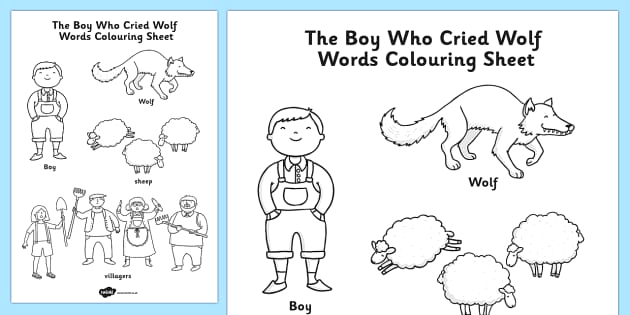 t t the boy who cried wolf words colouring sheet