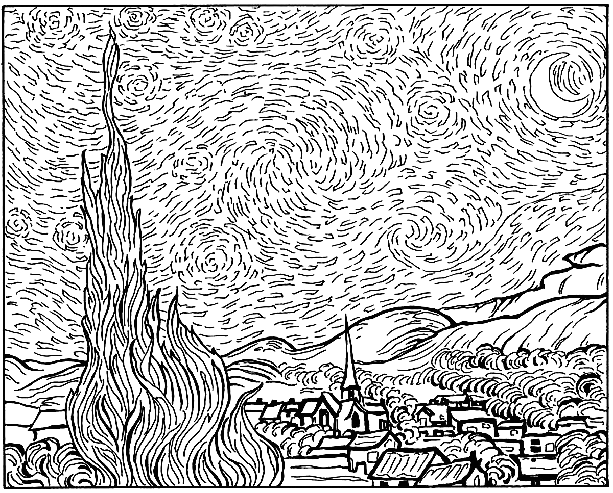 Vincent Van Gogh Starry Night Coloring Page Van Gogh Coloring Pages for Adults