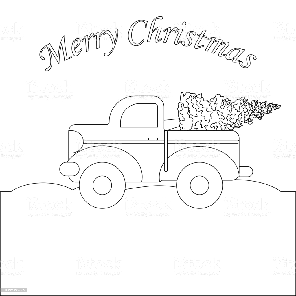 Vintage Red Truck with Christmas Tree Coloring Page Red Truck with Christmas Tree Coloring Page Stock Vector