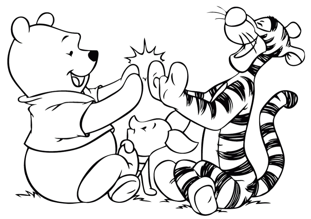 walt disney tigger and winnie pooh playing with piglet printable coloring pages