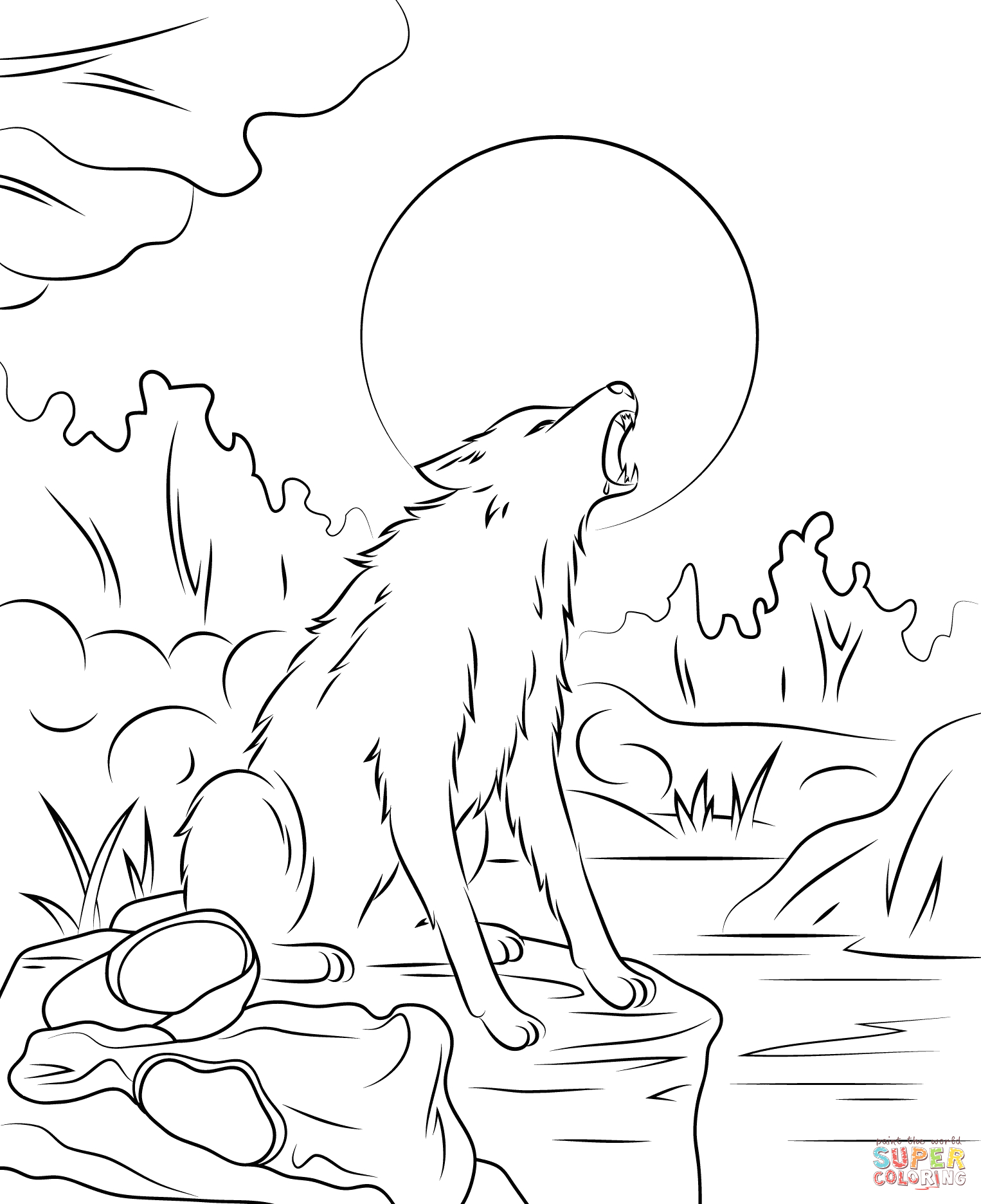 wolf howling at the moon drawing step by step