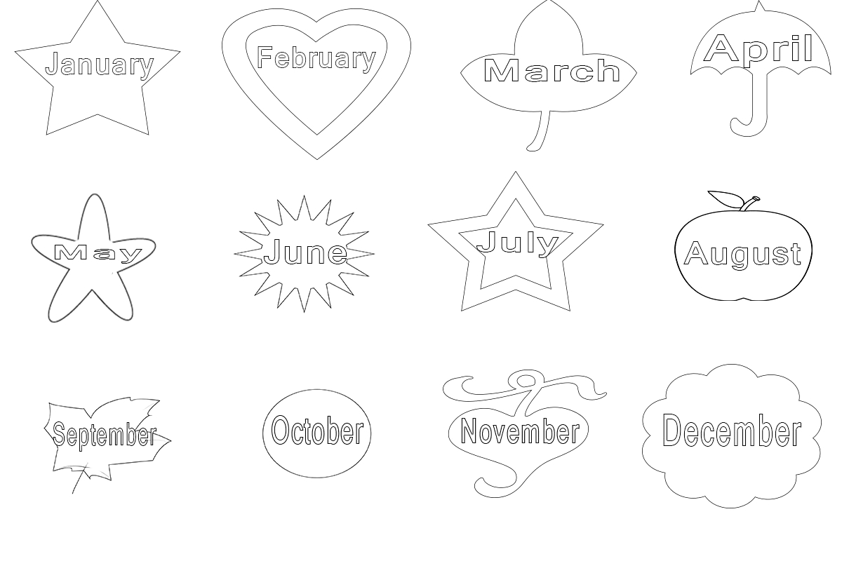 12 Months Of the Year Coloring Pages Free Printable 12 Months the Year Coloring Pages
