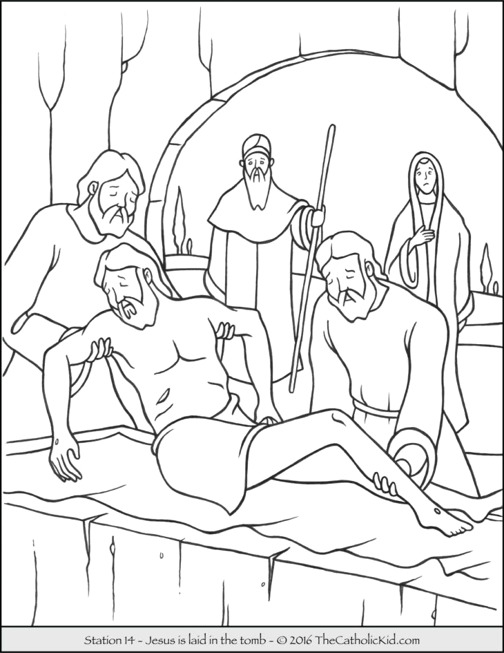 14 Stations Of the Cross Coloring Pages Stations Of the Cross Coloring Pages 14 Jesus is Laid In