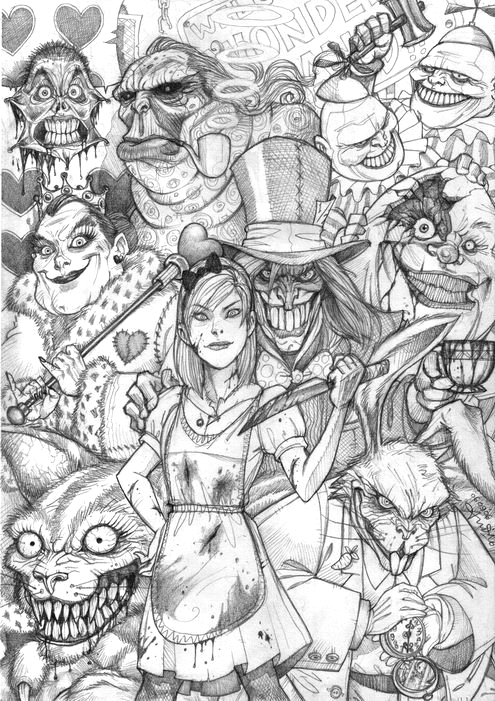 alice s nightmare in wonderland coloring book pages