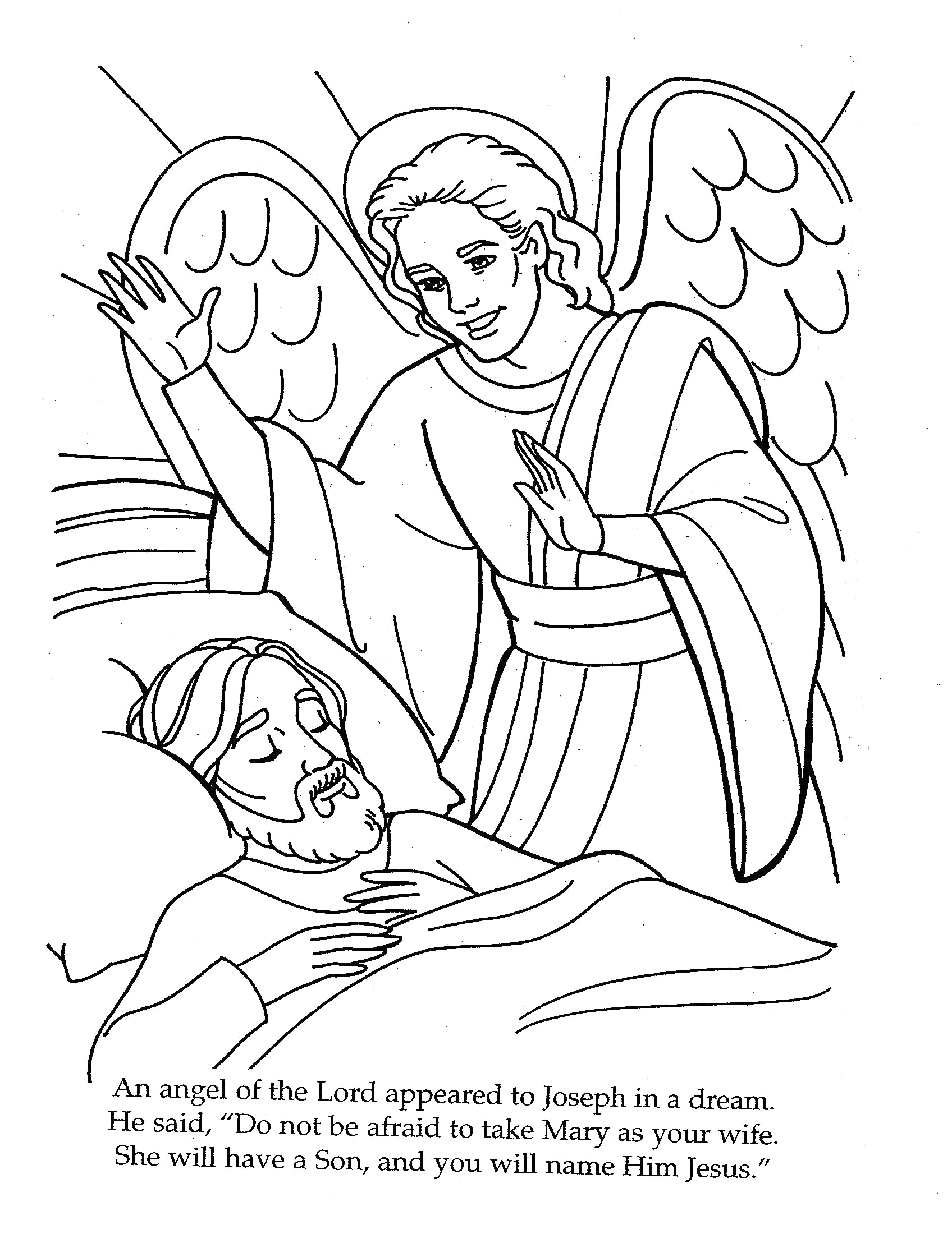 An Angel Appeared to Joseph Coloring Page the Angel Visits Joseph Coloring Page …