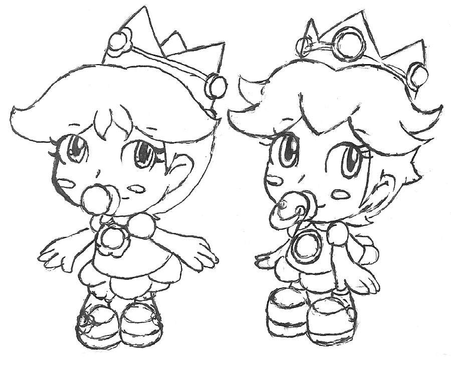 Baby Peach and Baby Daisy Coloring Pages Baby Peach and Baby Daisy by Kierrysu On Deviantart