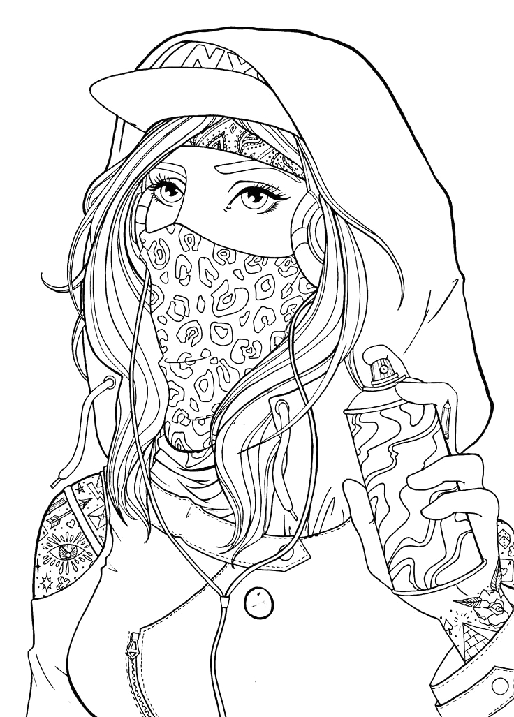 Bad Girl Coloring Pages for Adults Girl Graffiti Girl Drawing Lineart
