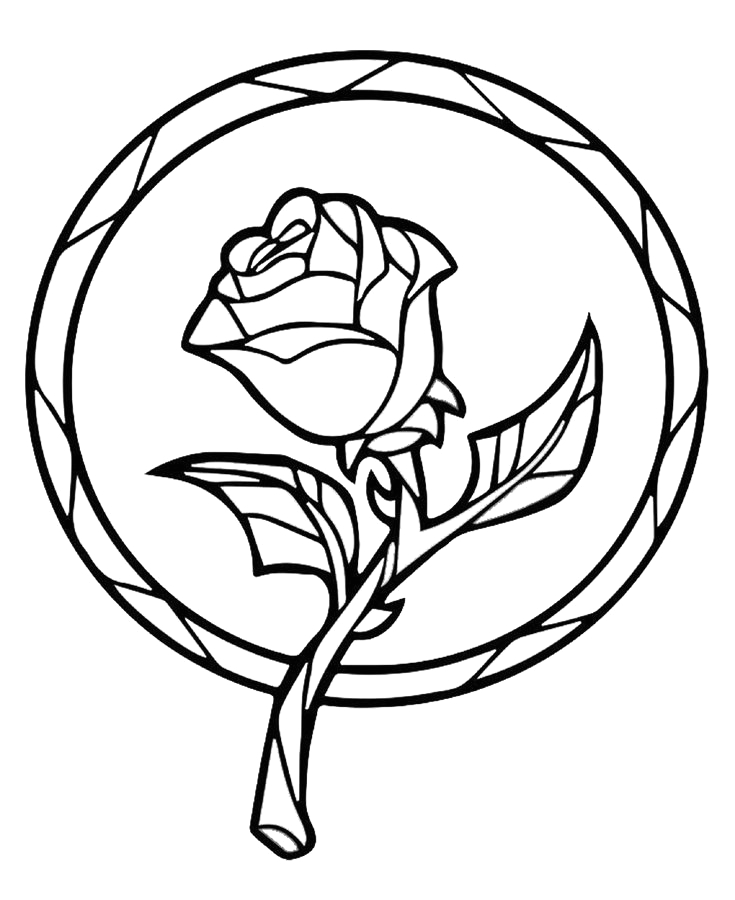 Beauty and the Beast Rose Coloring Page Beauty and the Beast Enchanted Rose Coloring Book Page