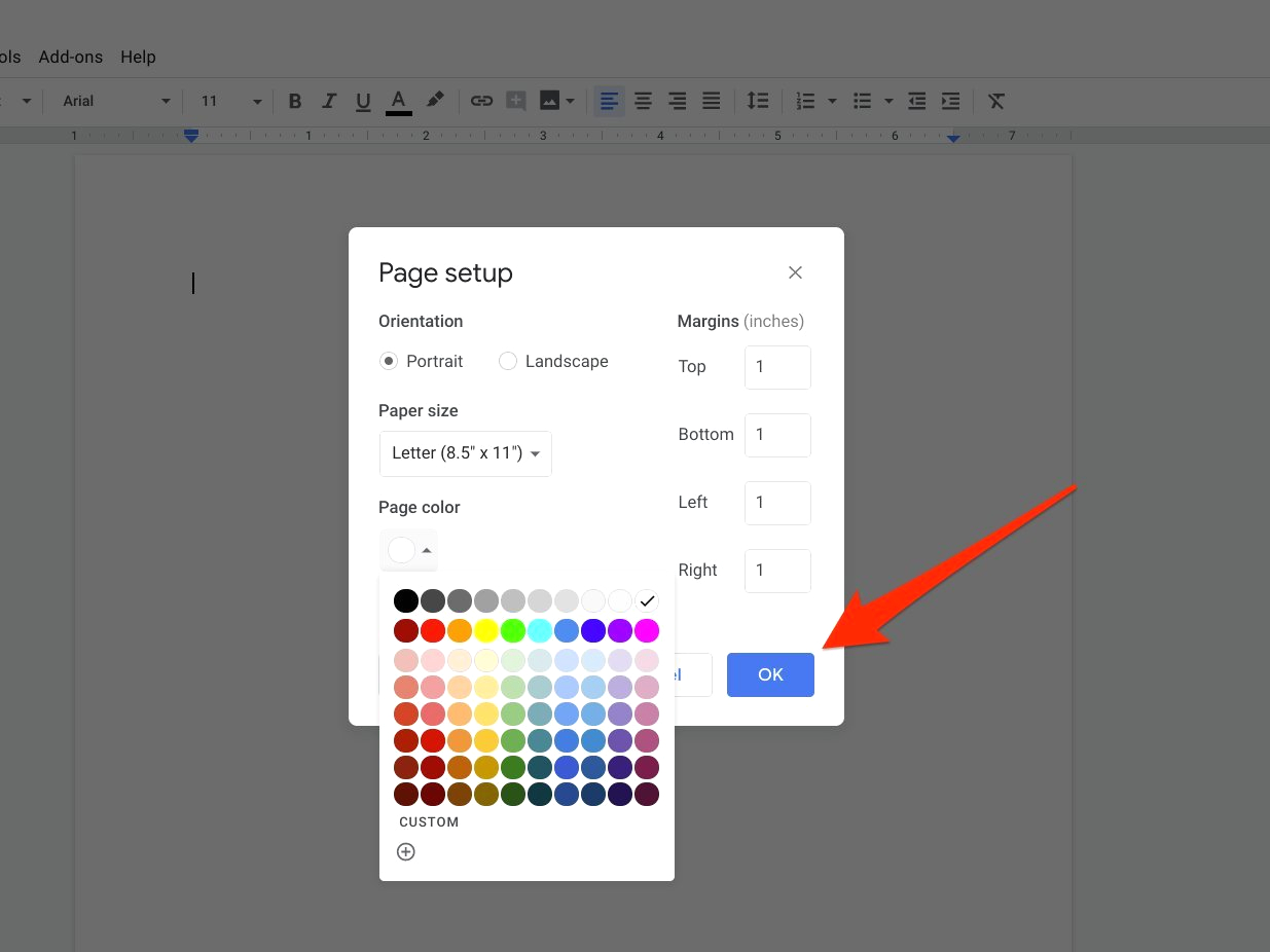 how to change background color on google docs