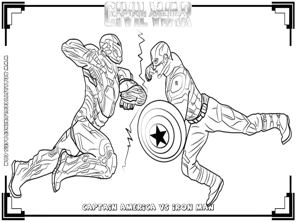 Captain America Vs Iron Man Coloring Pages Captain America Civil War Printable Coloring Pages