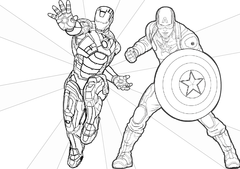 iron man and first avenger captain america coloring pages