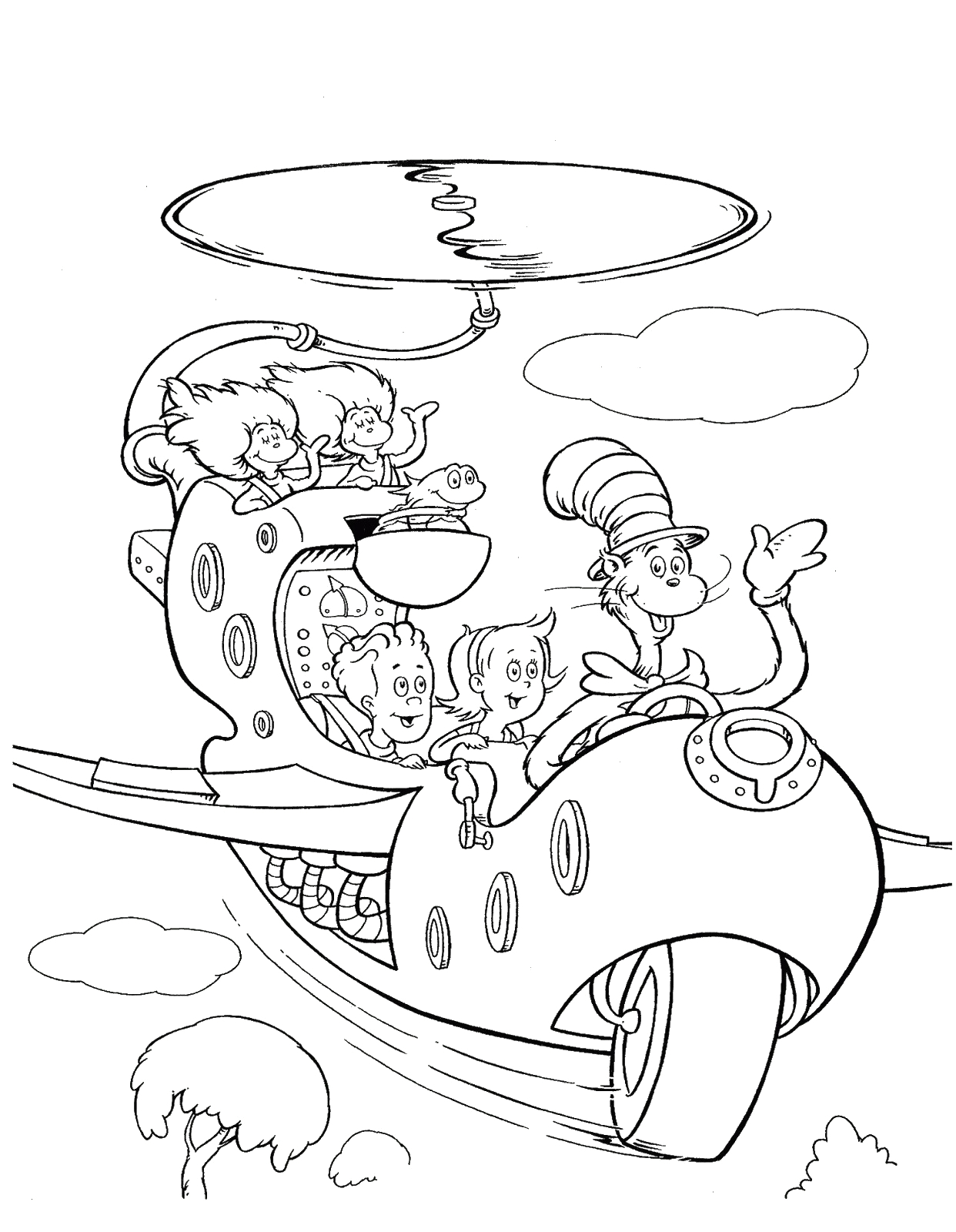 cat and the hat hat coloring page