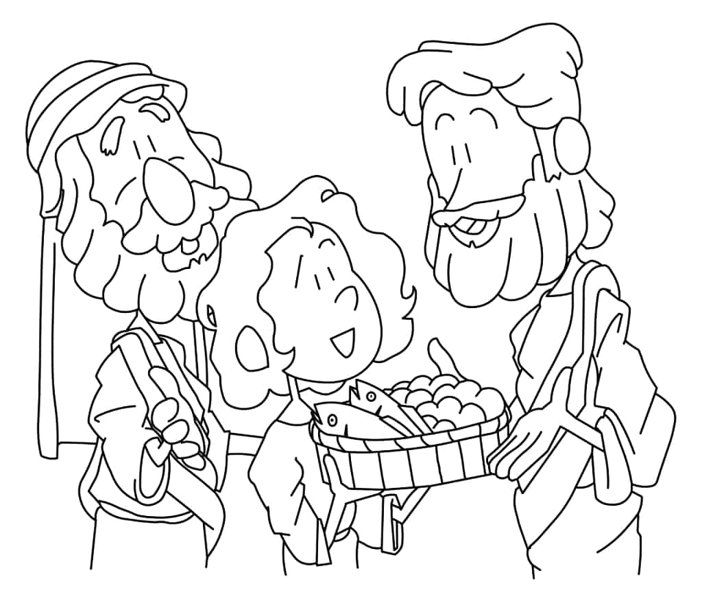 Coloring Page Of Jesus Feeding the 5000 Jesus Feeds 5 000 Coloring Page — Ministry to Children