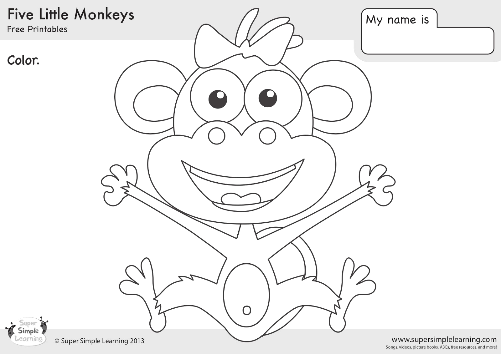 Coloring Pages 5 Little Monkeys Jumping Bed Five Little Monkeys Jumping On A Bed
