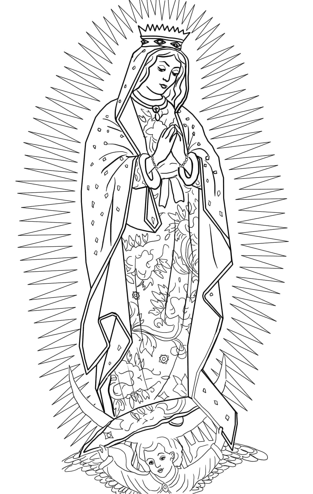 our lady of guadalupe coloring page for