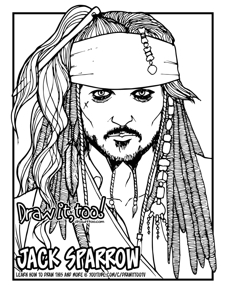 how to draw jack sparrow the pirates of the caribbean narrated easy step by step tutorial