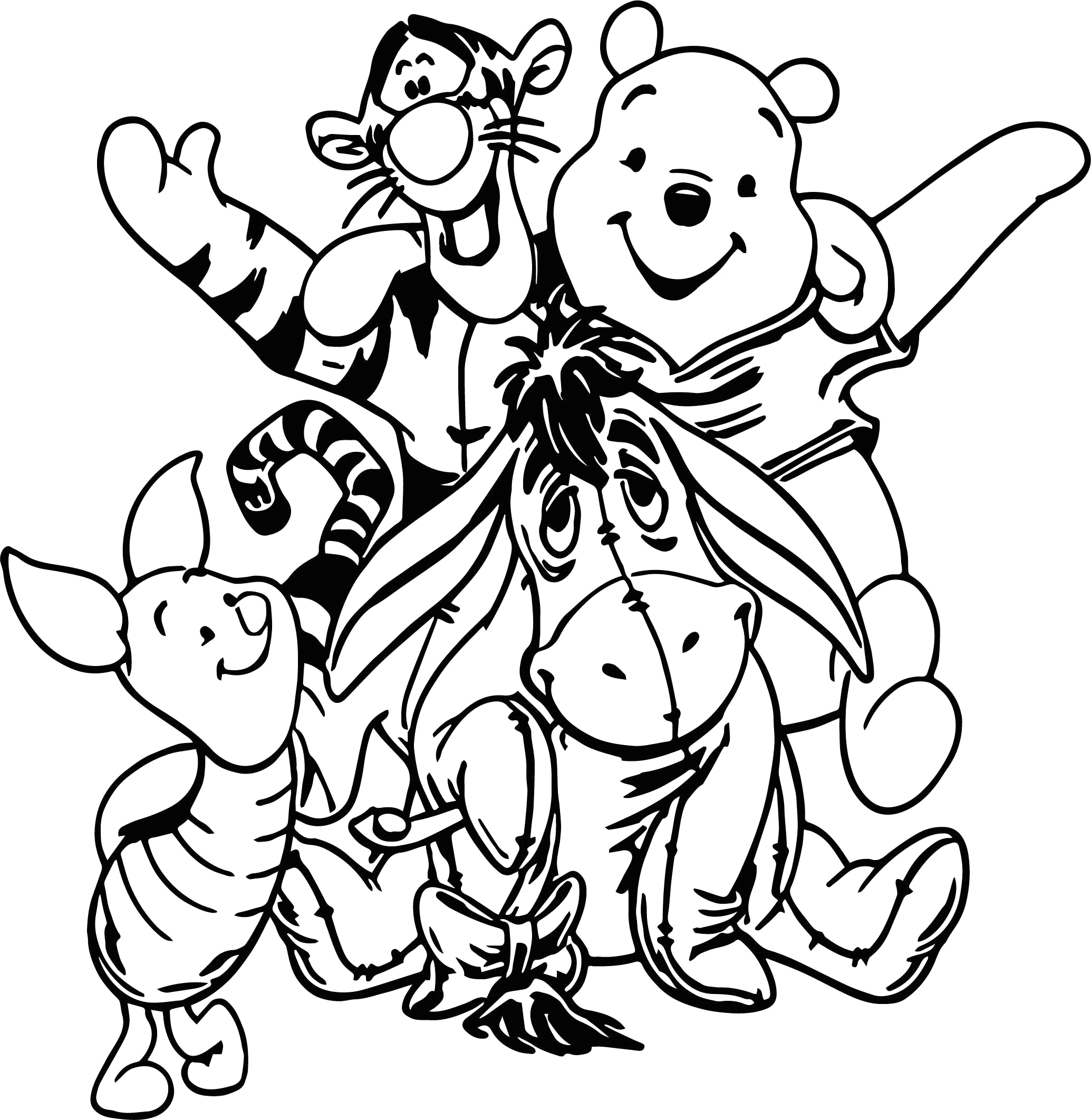 Coloring Pages Of Pooh Bear and Friends Cool Winnie the Pooh All Friends Coloring Page