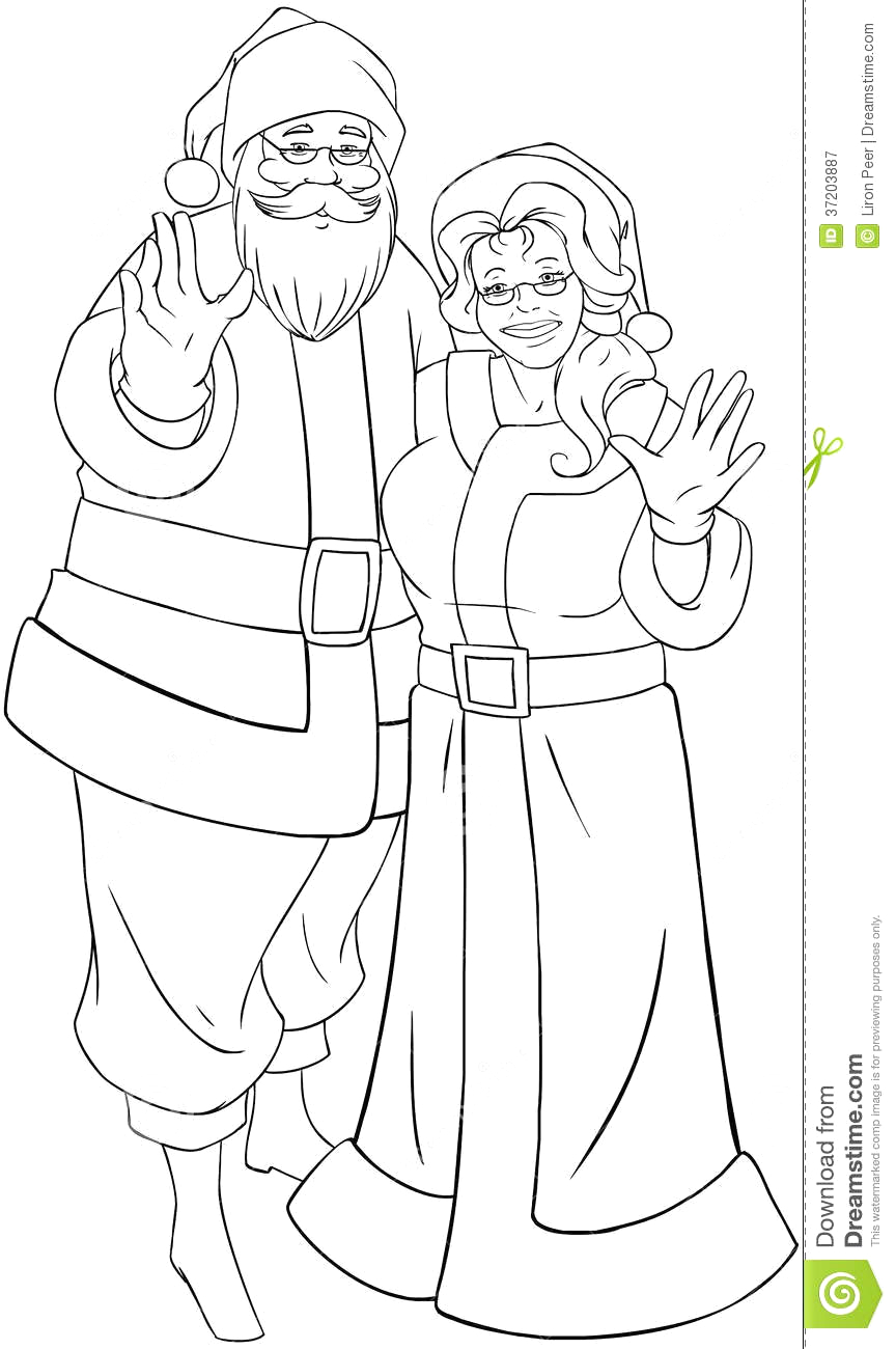 Coloring Pages Of Santa and Mrs Claus Santa and Mrs Claus Waving Hands for Christmas Col Royalty