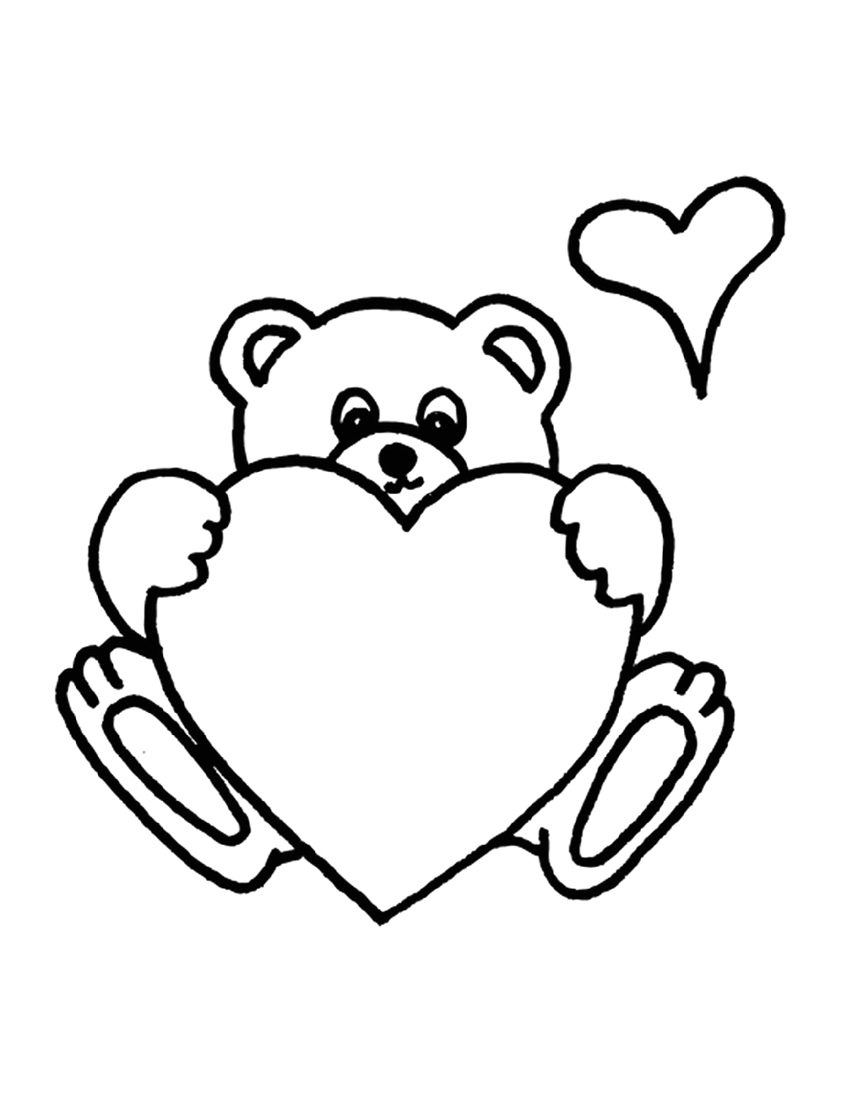Coloring Pages Of Teddy Bears with Hearts Heart Teddy Bear Coloring Pages to Print Educative