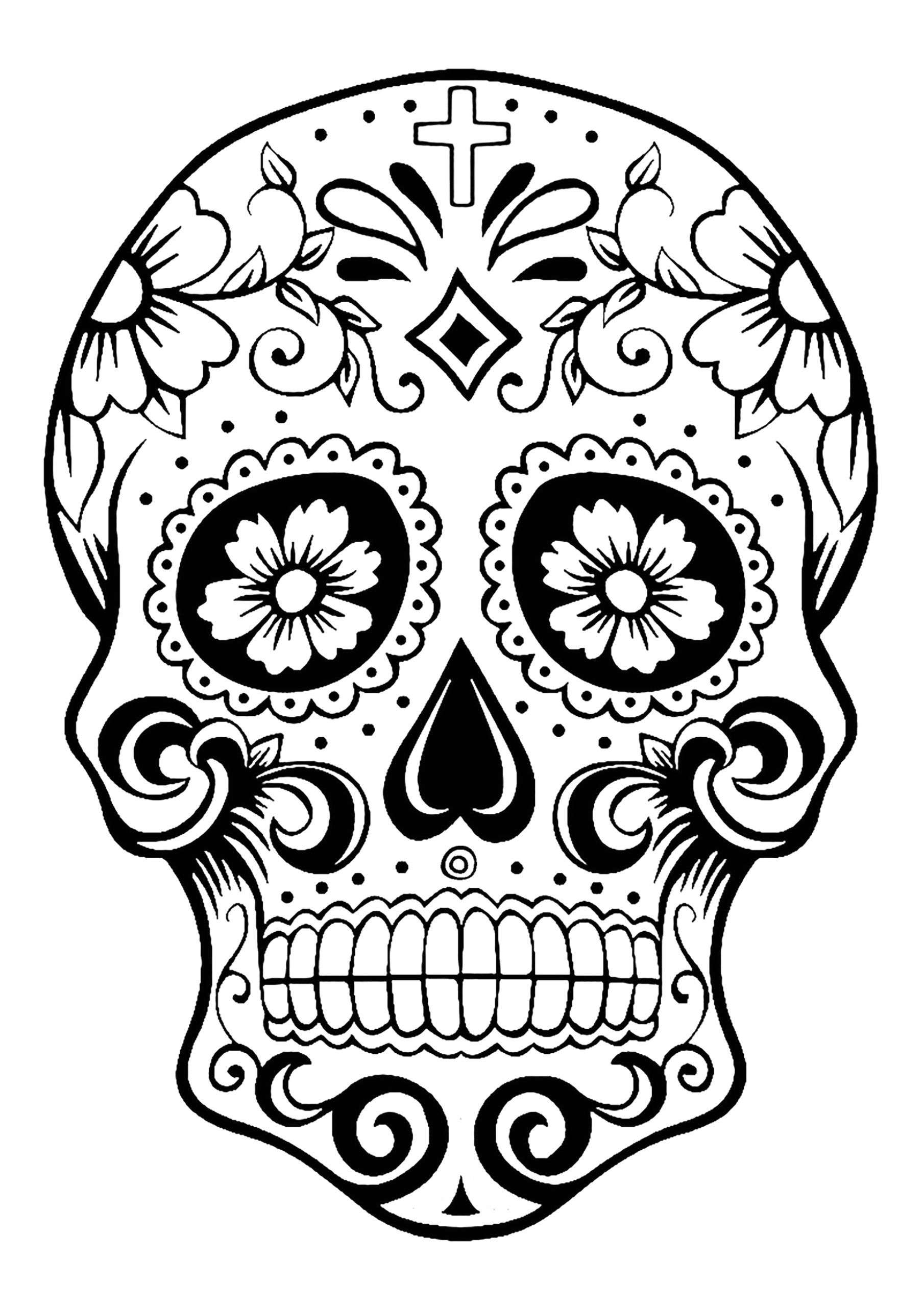 Dia De Los Muertos Skull Coloring Pages Skull Coloring Pages for Adults