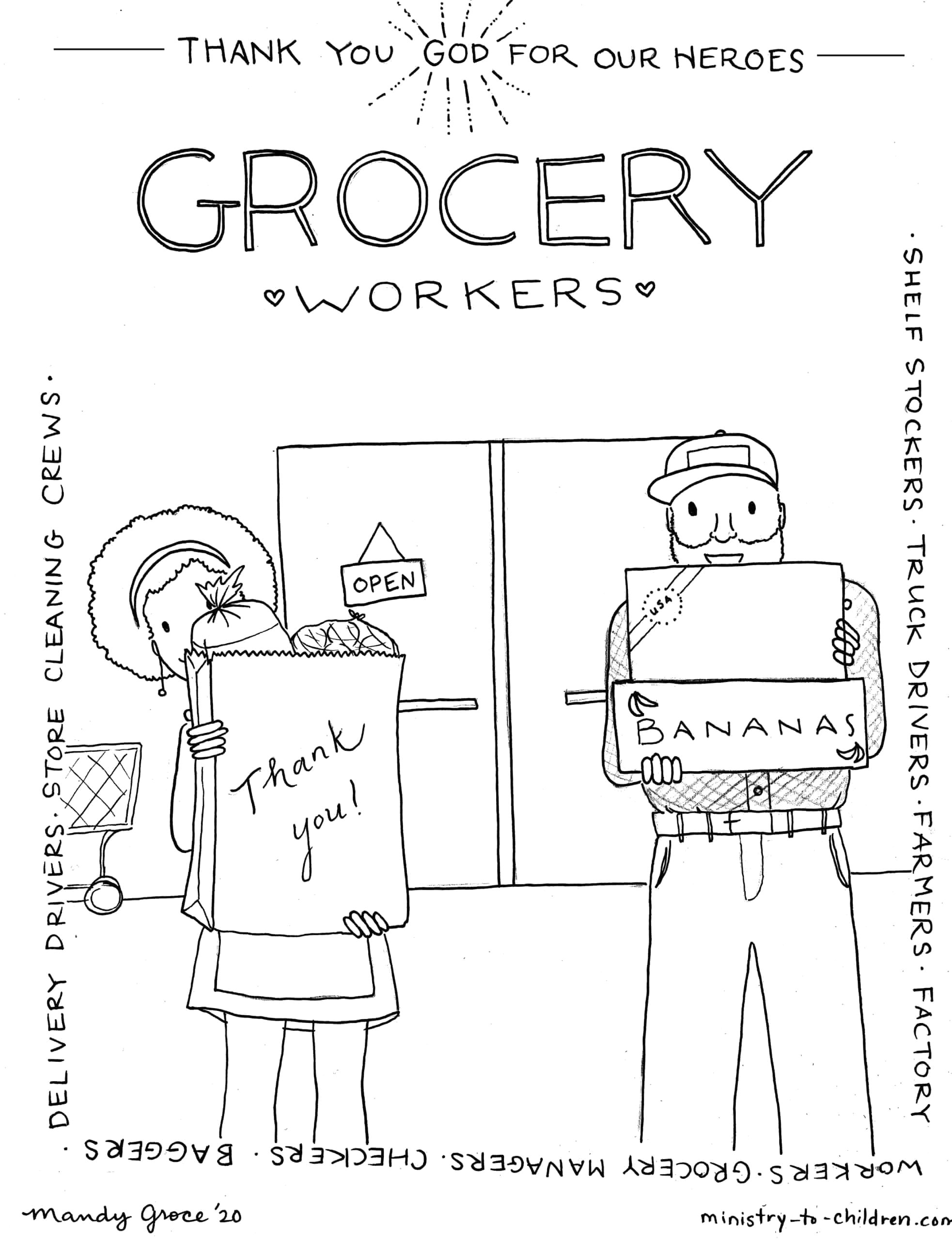 grocery workers heroes coloring page