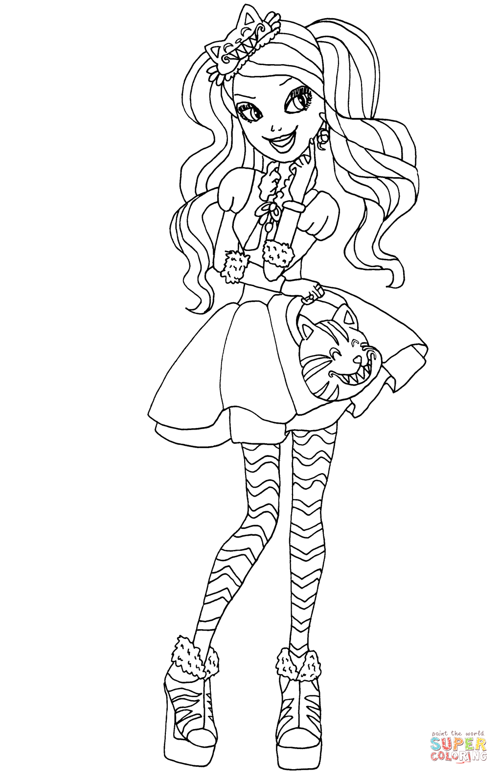 Ever after High Coloring Pages Kitty Cheshire Ever after High Kitty Cheshire Coloring Page