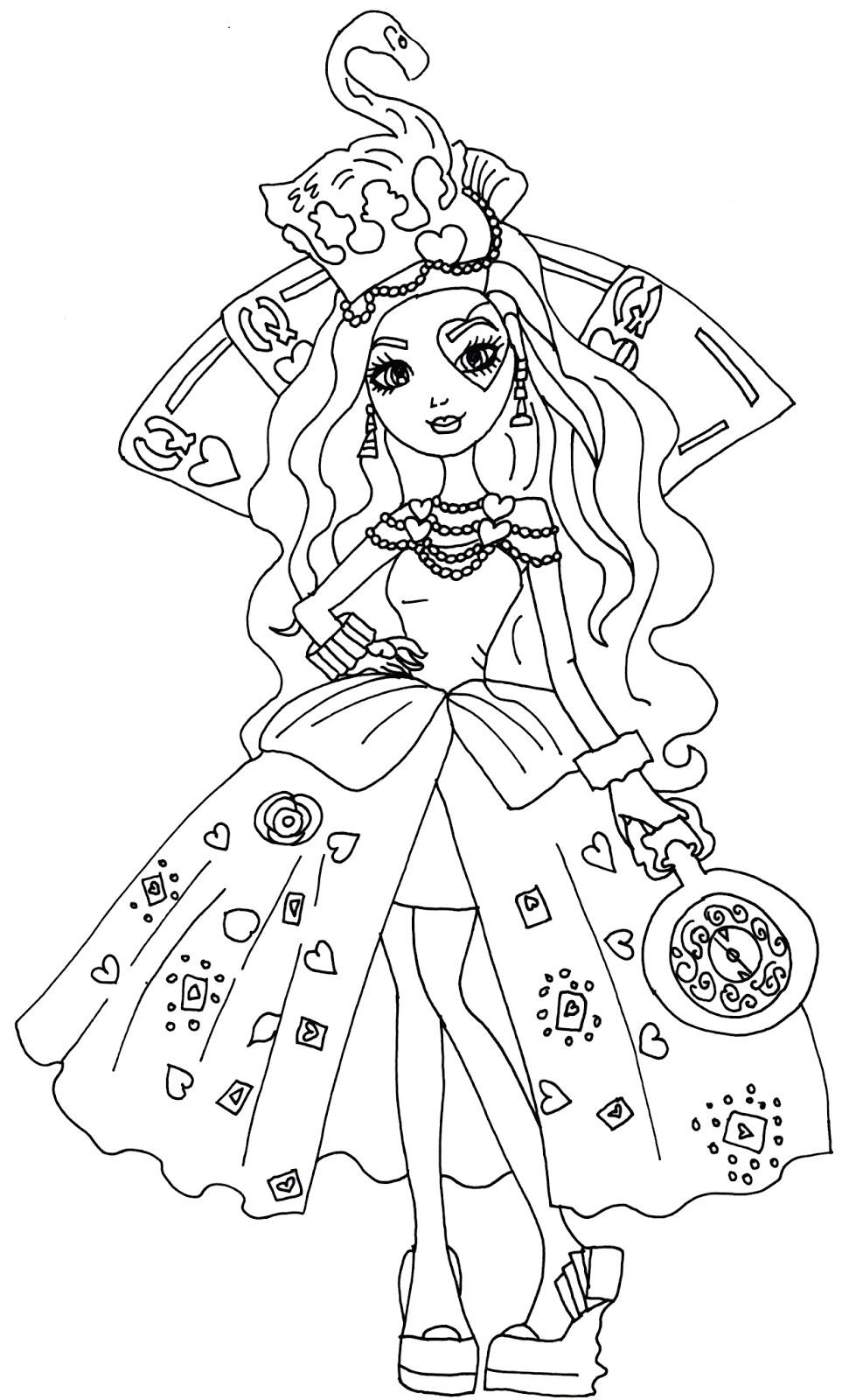 Ever after High Lizzie Hearts Coloring Pages Free Printable Ever after High Coloring Pages Lizzie