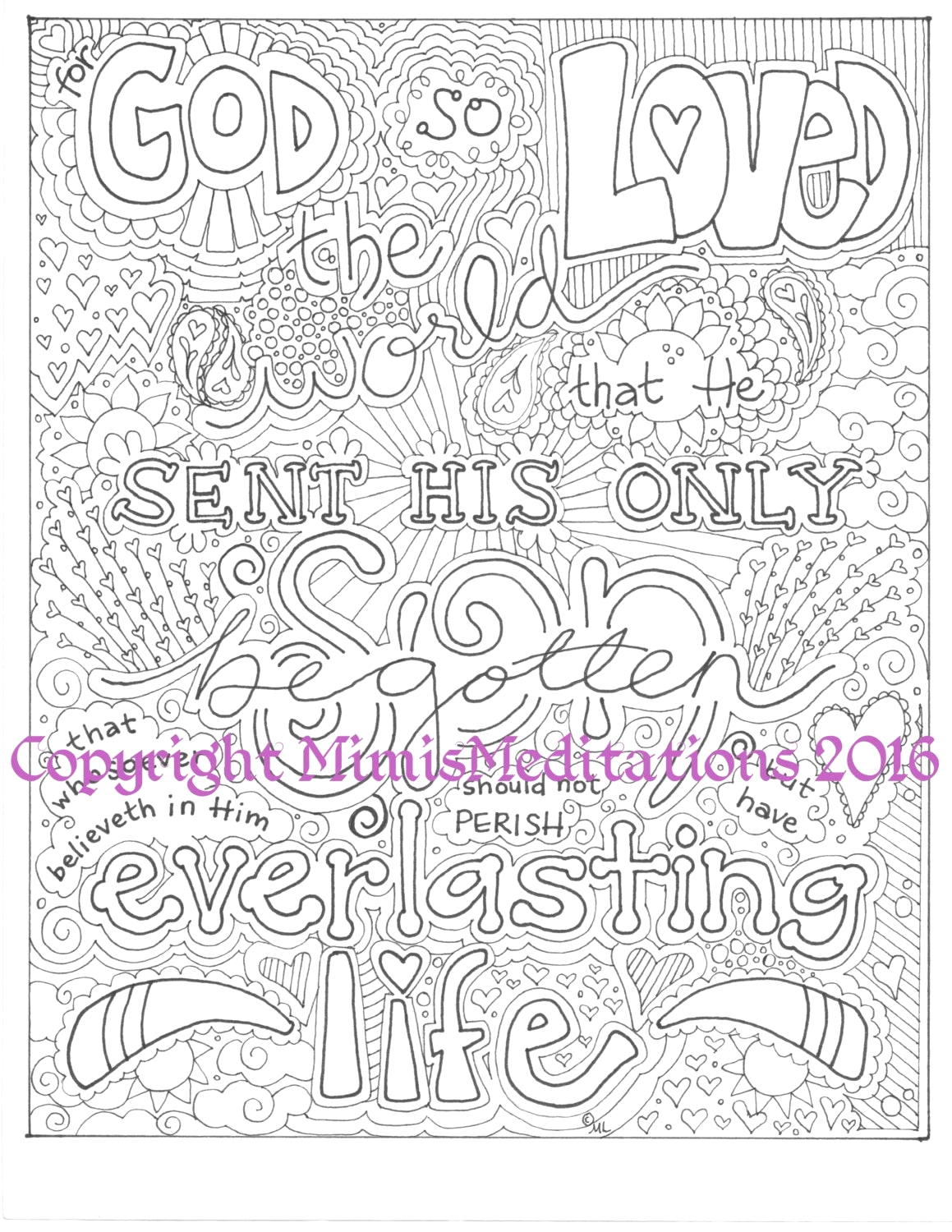coloring page for god so loved the world