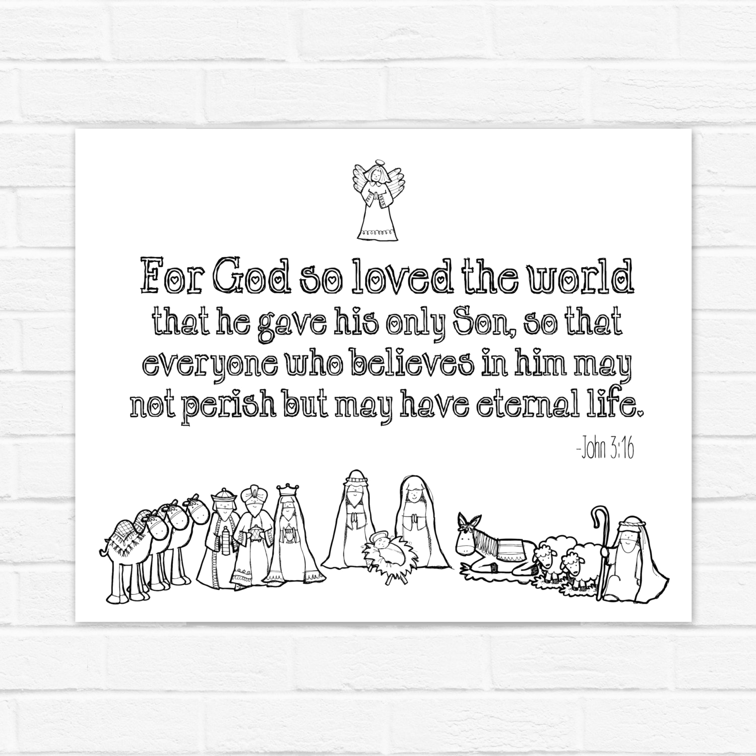 for god so loved the world digital john 316 christmas nativity printable and coloring page