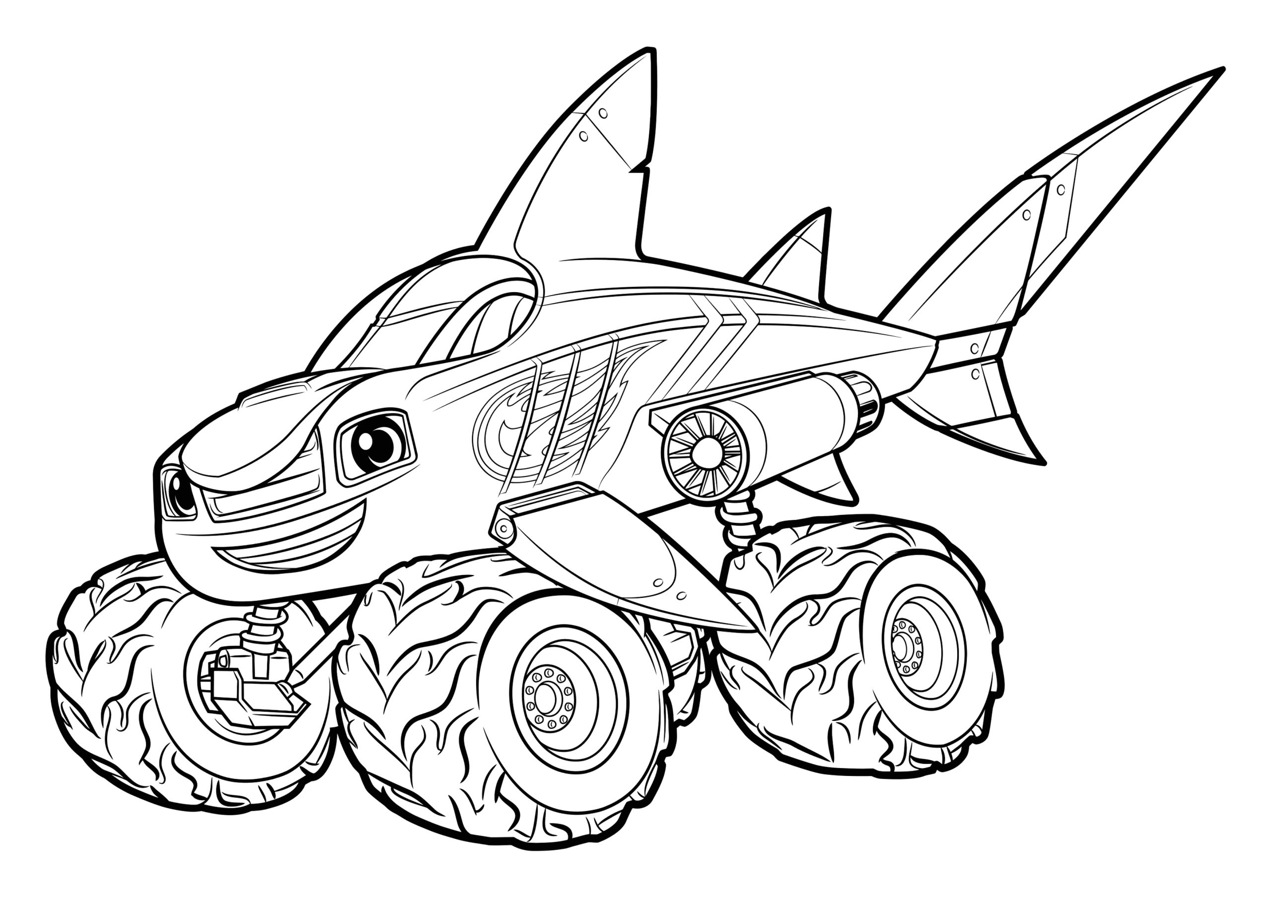 Free Blaze and the Monster Machines Coloring Pages Blaze and the Monster Machines Blaze Shark Coloring