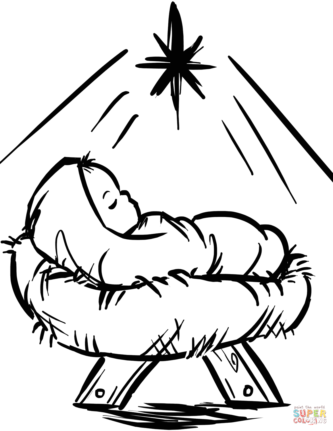 Free Coloring Pages Baby Jesus In A Manger Baby Jesus Manger Scene Coloring Page